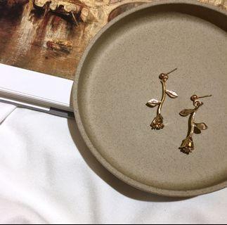 復古金色玫瑰花耳環 花朵耳環 玫瑰耳環