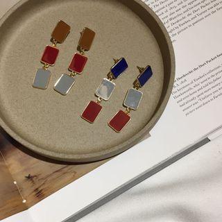 復古彩色方塊耳環