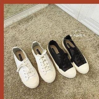 韓風街拍皮面小白鞋2色 A0029