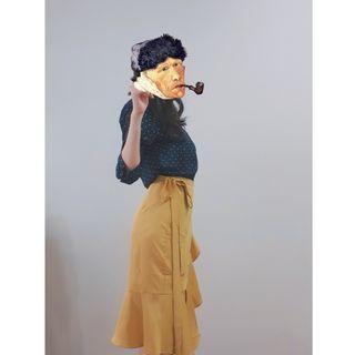 SEOUL MATE 首爾妹 優雅綁帶荷葉魚尾長裙 芥末黃