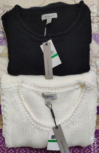 Calvin Klein女款毛衣/黑白二色
