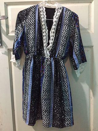 NEW Mididress batik biru #1111Special zalora blue top dress renda brukat hitam black dress motif tenun