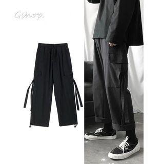【 Gshop.】黑色直筒工裝褲百搭休閒長褲
