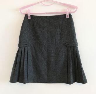 日本專櫃品牌 NATURAL BEAUTY 日本製毛料側百褶短裙