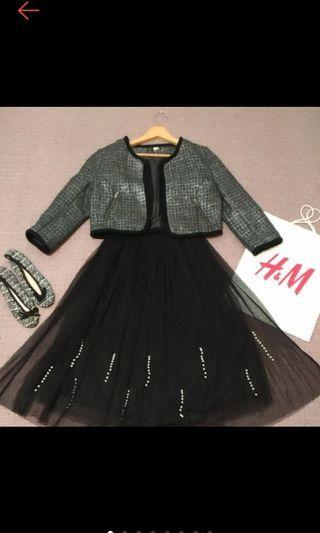 H&M  時尚 小香風 20%羊毛 短版外套 7分袖 小香風外套