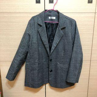韓系格紋西裝外套