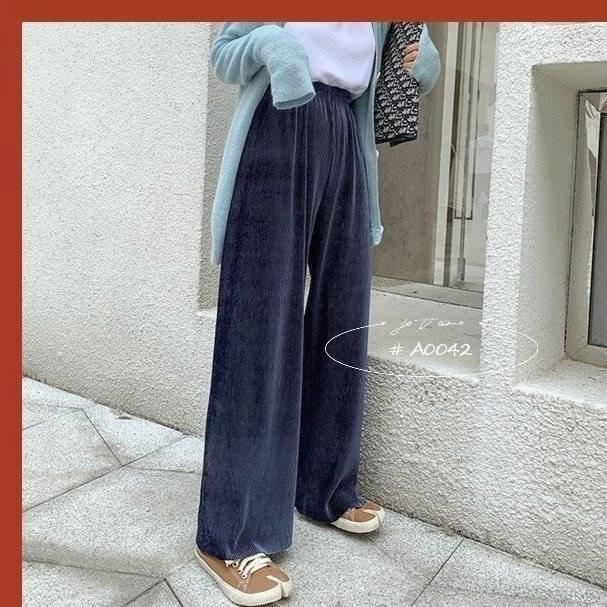百褶闊腿長褲3色 A0042