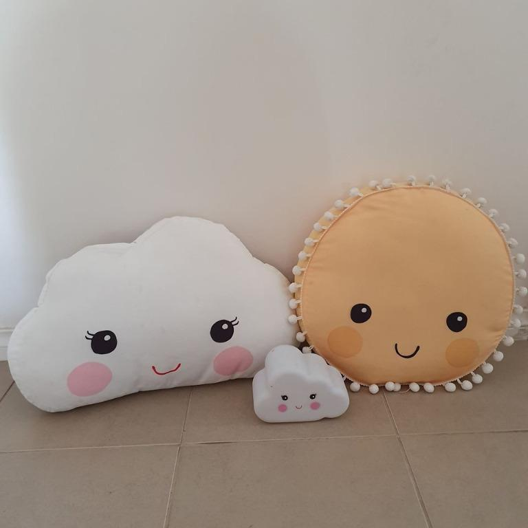 3 items cute  Kmart Room decor cushions and lamp clouds sun