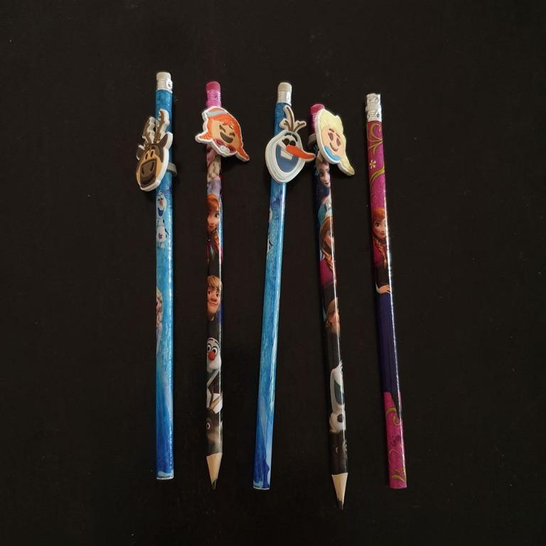 5x licensed frozen elsa anna sven olaf grey lead pencils toppers