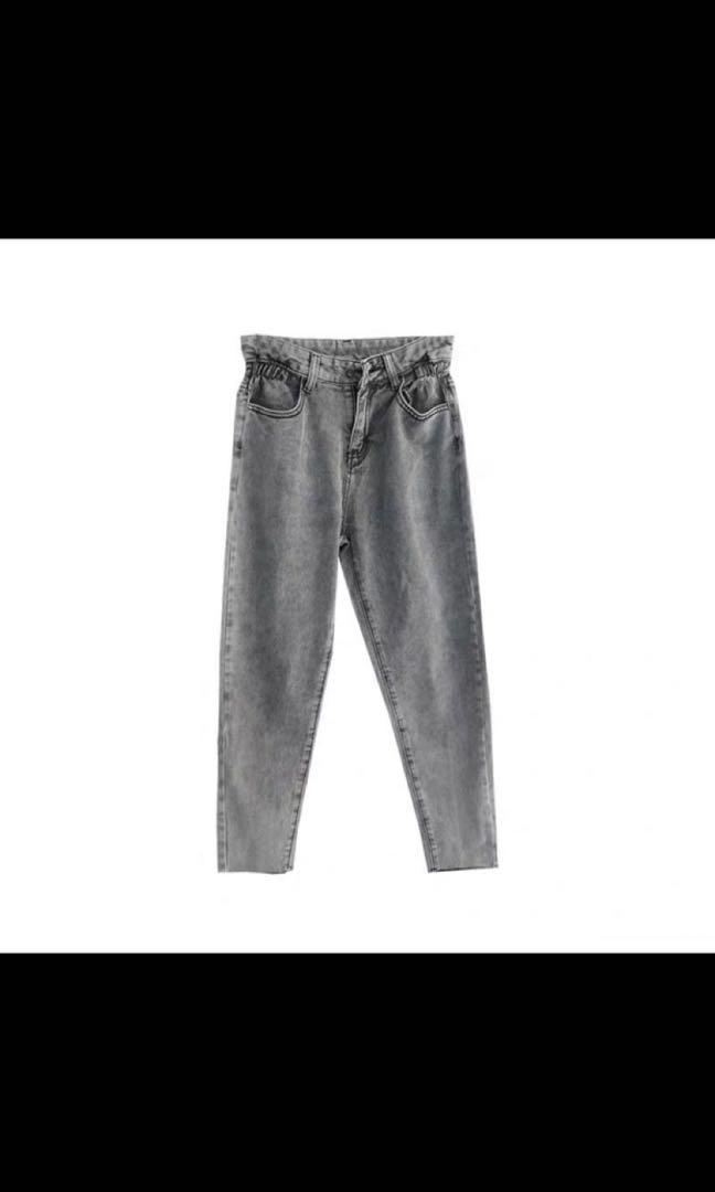 灰色微束腰牛仔褲
