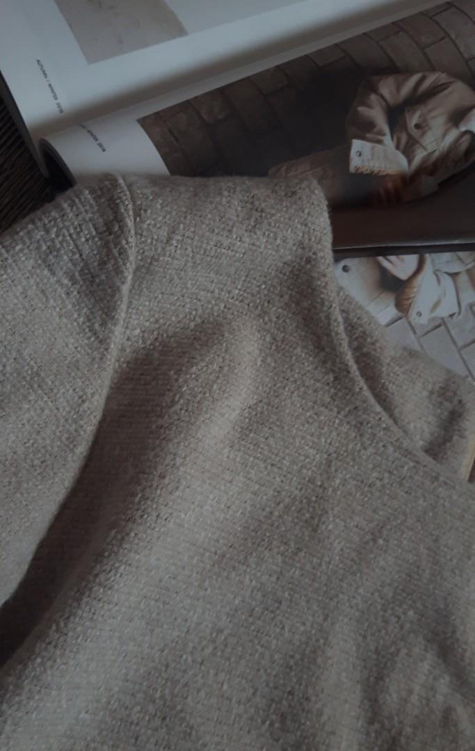 韓系甜美圓領混毛料雙口袋下擺魚尾顯瘦上衣