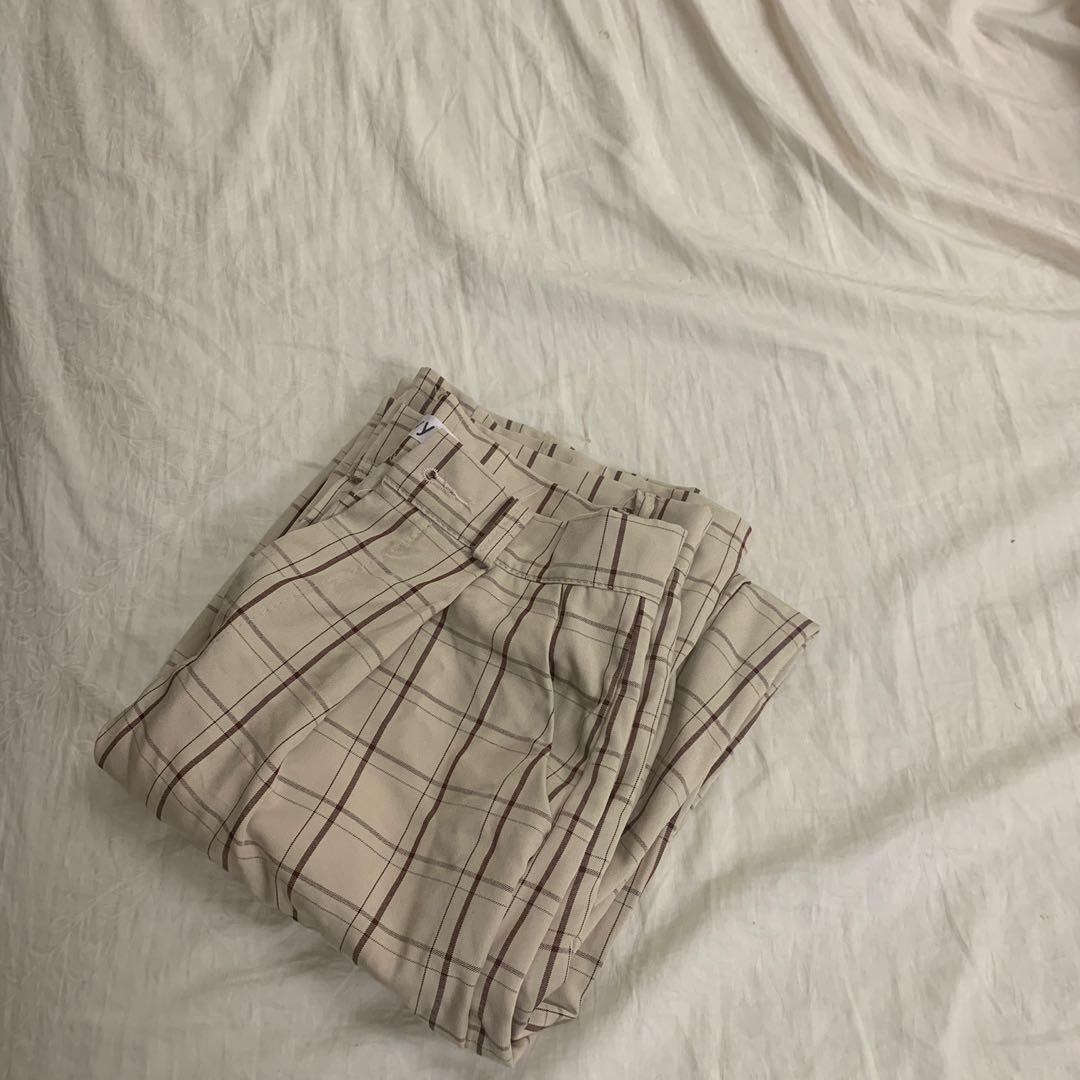 格紋休閒長褲