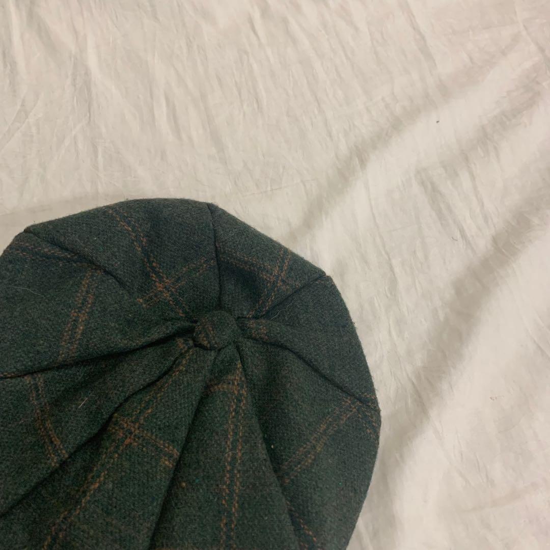 格紋毛呢貝類帽