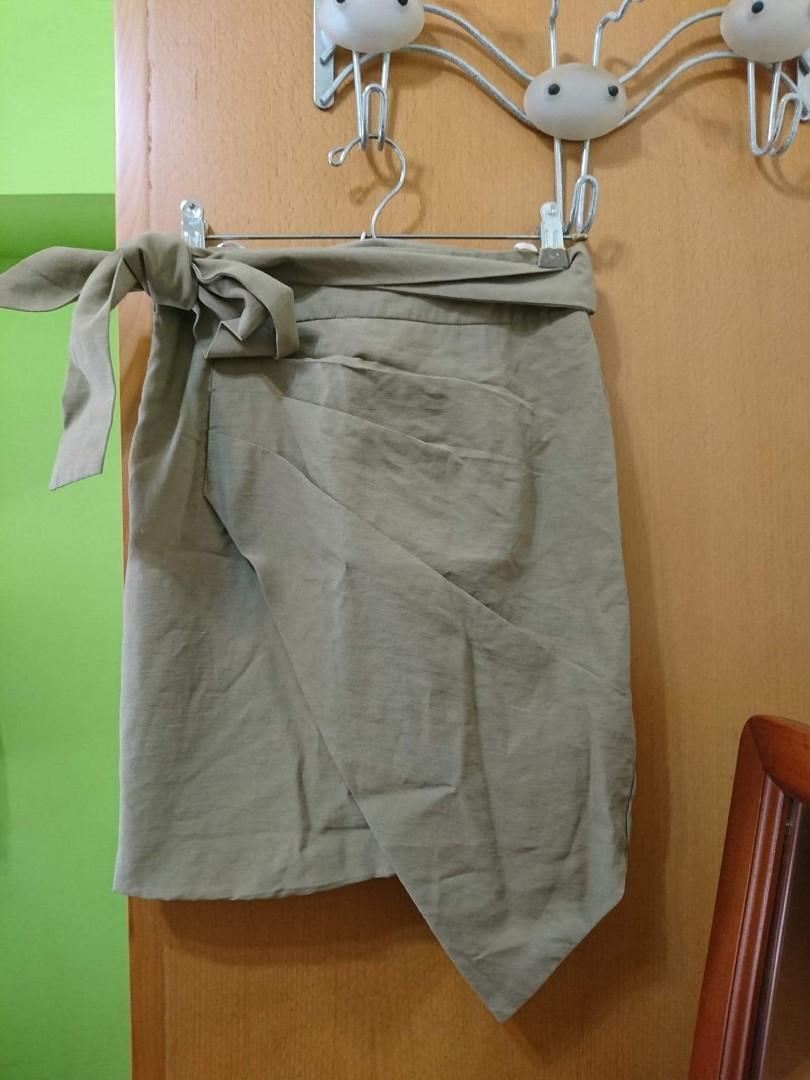軍綠色 蝴蝶結 窄裙