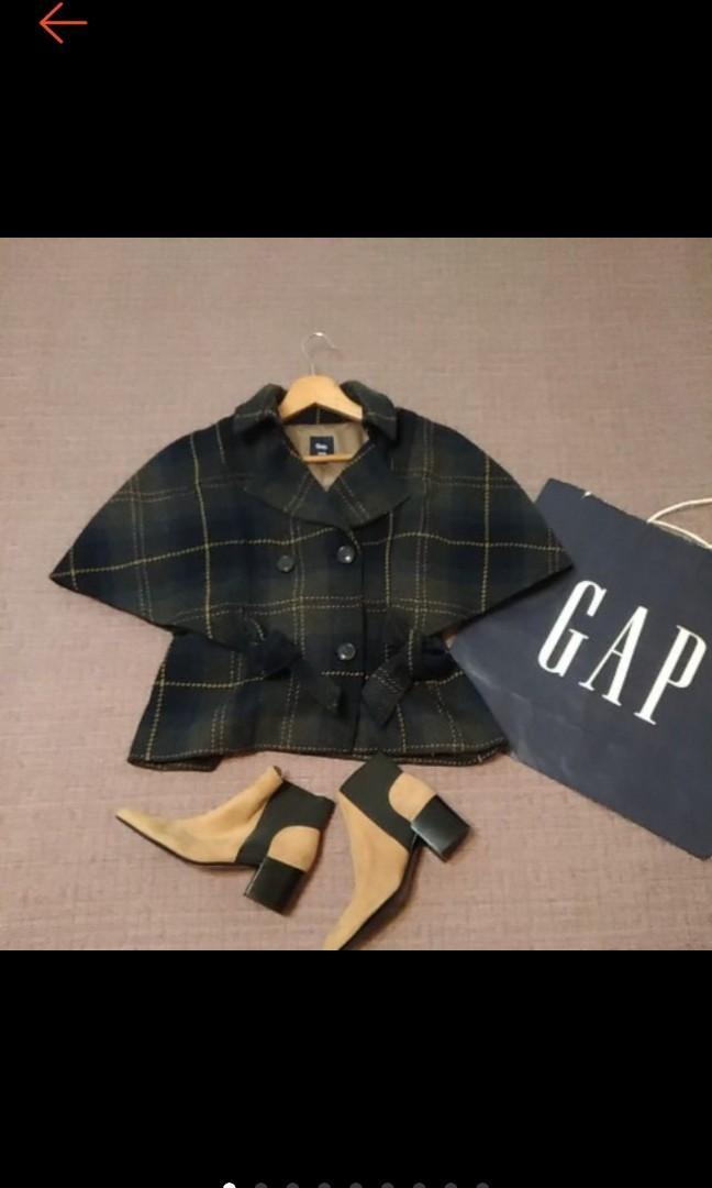 美國 GAP 復古時尚 藍灰格紋 蝴蝶結綁帶 雙排釦 羊毛外套 披風 5分袖外套 近全新