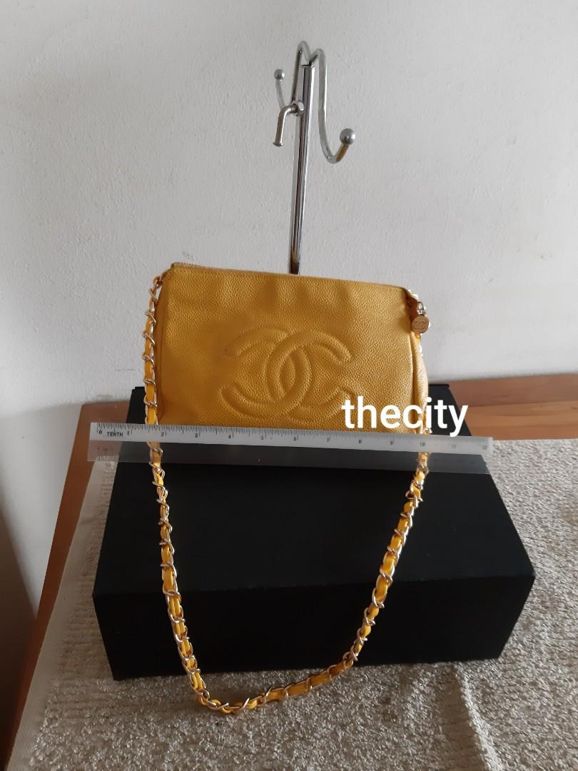 AUTHENTIC CHANEL CAVIAR LEATHER BIG VANITY POUCH BAG - CC LOGO DESIGN -  HOLOGRAM STICKER INTACT- GOLD HARDWARE- WITH EXTRA ADD HOOKS AND LONG CHAIN STRAP FOR CROSSBODY SLING -