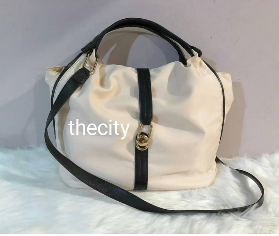 AUTHENTIC FURLA SHOULDER BAG WITH LONG STRAP FOR CROSSBODY SLING - NYLON & LEATHER - OVERALL STILL GOOD - (SIZE : 34 X 30 CM APPROX)