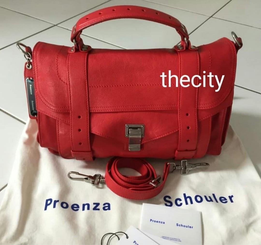 AUTHENTIC PROENZA SCHOULER PS1 MEDIUM LAMBSKIN LEATHER BAG - RED COLOR - VERY GOOD CONDITION- (RETAILS AROUND RM 7600+)