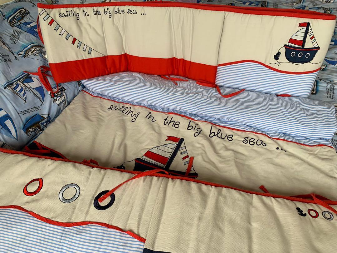 Baby crib quilt and bumpers - nautical theme