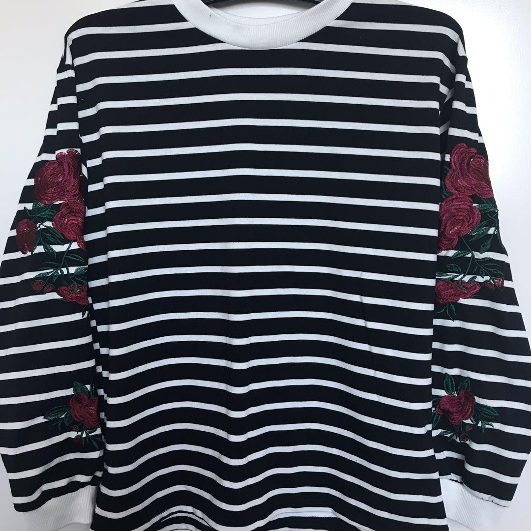 Black and White Striped Sweater with Rose Embroidery