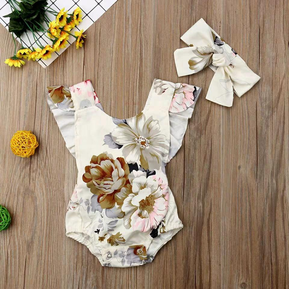 CAKEYS BABY FLORAL SISTER FLOWER DRESS ROMPER SET CUTE BABY GIRL