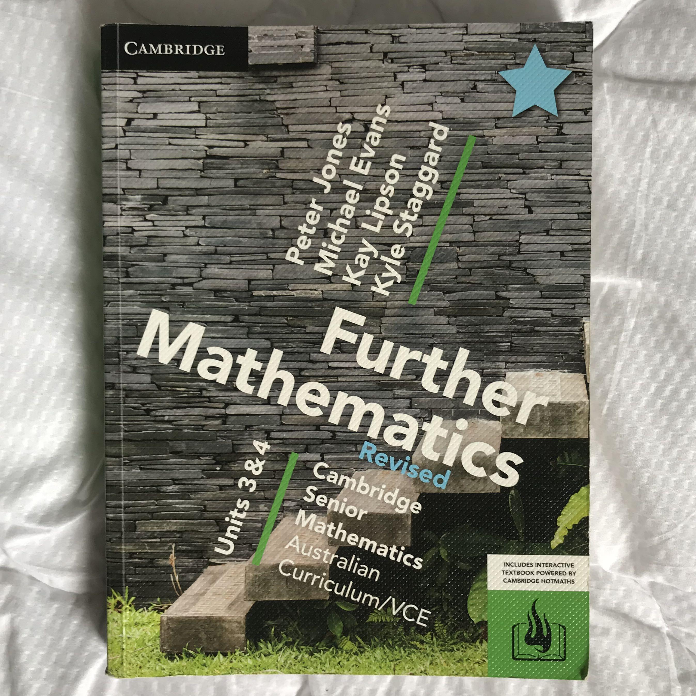 Cambridge Further Mathematics Units 3 & 4    SELLING 2 textbooks as well as online version !!