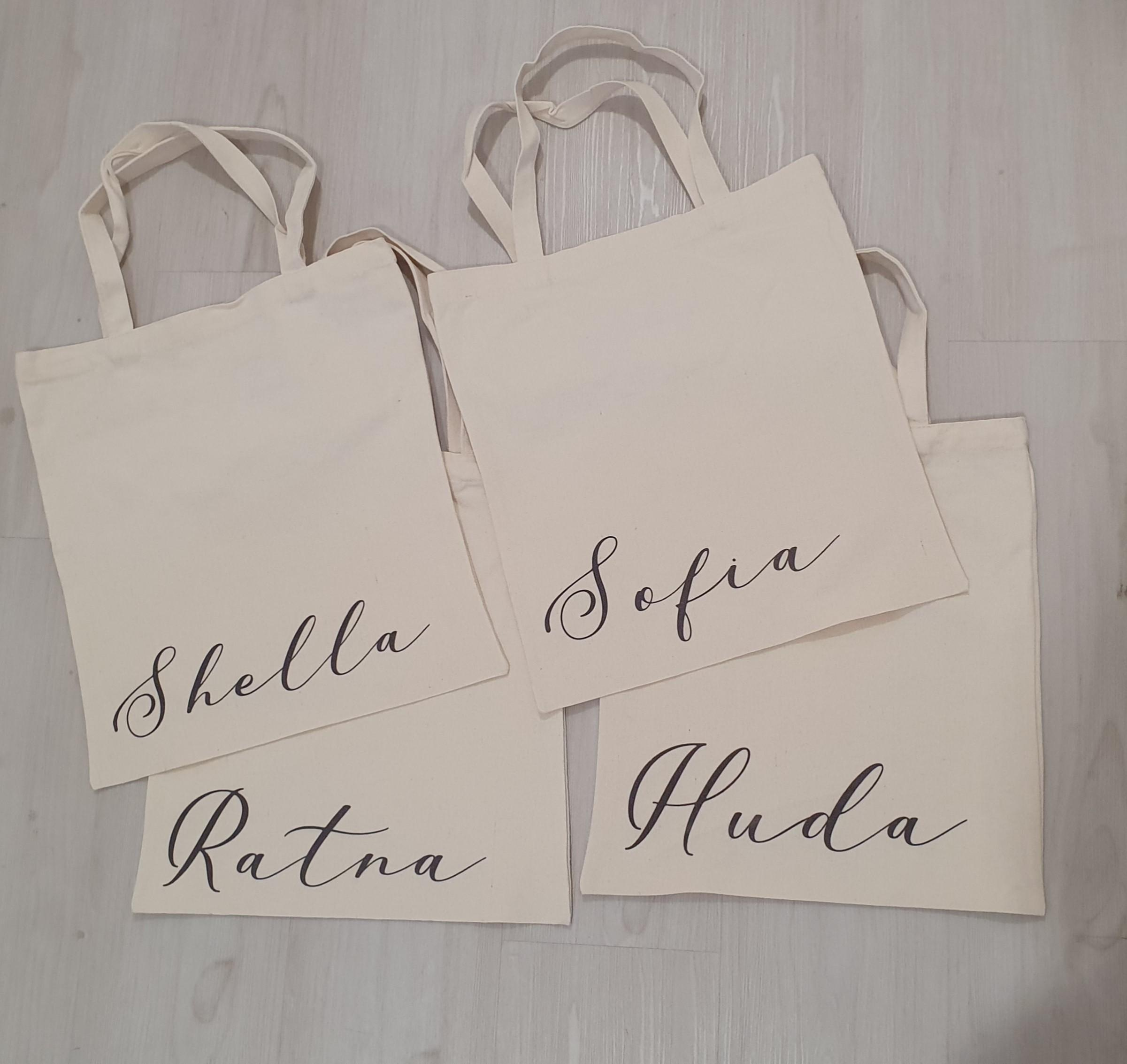 Canvas Tote Bag with Name Printing / Print  Personalised Customised Custom Bridesmaid  Gift
