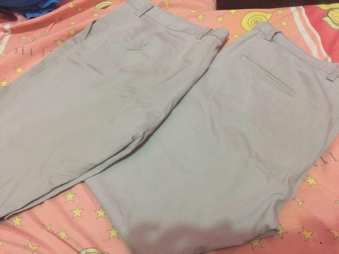 #1111special  Celana bahan abu abu