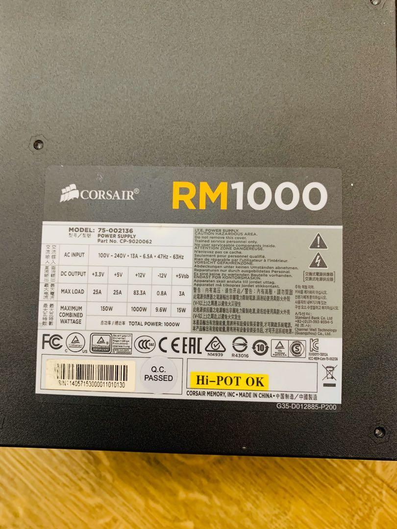 Corsair RM 1000W 80+ Gold Modular PSU