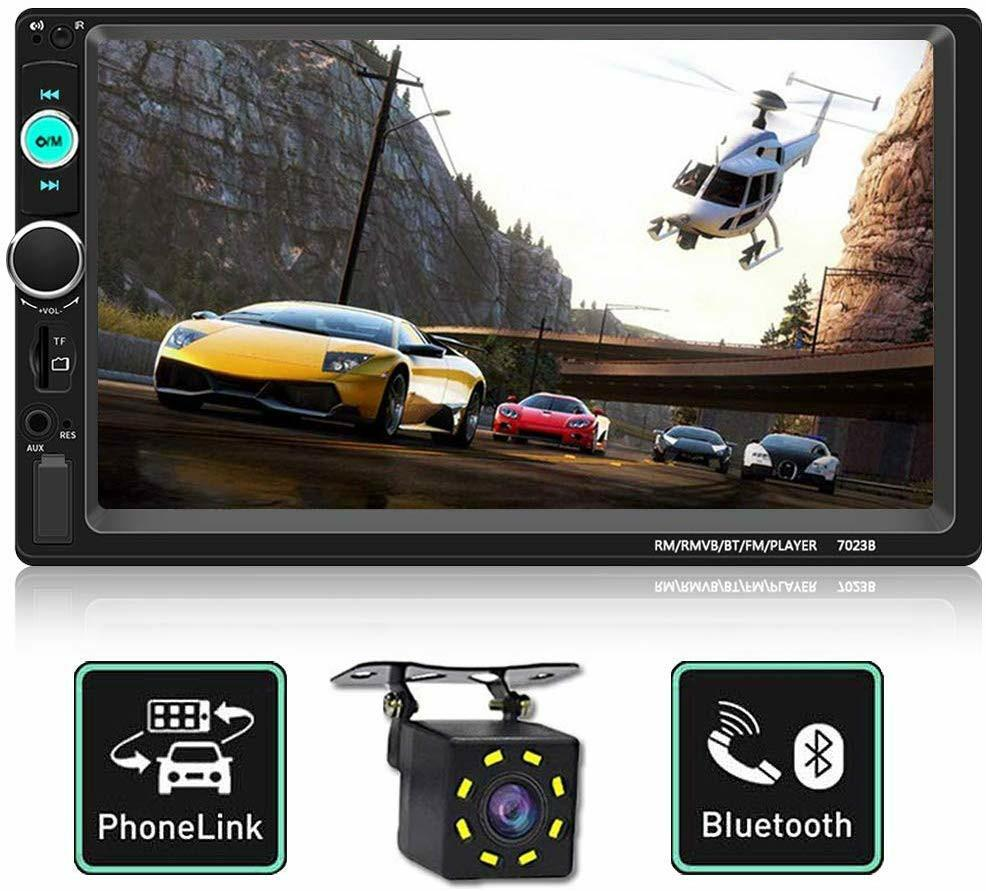 Double Din Car Stereo,Upgraded Version 7 Inch Touch Screen Car MP5 Player with Rear View Camera