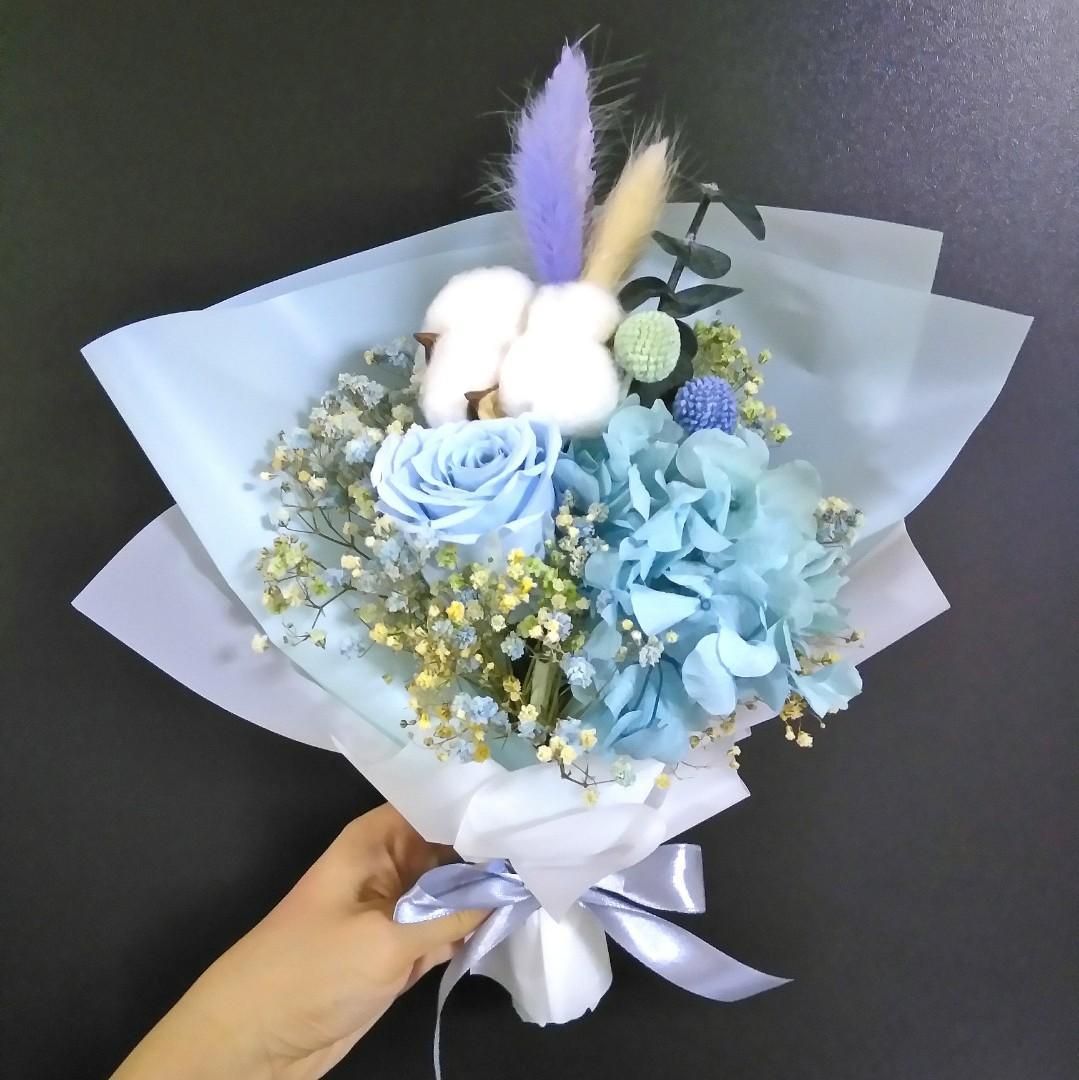 Eternal blue rose cotton hydrangea bouquet