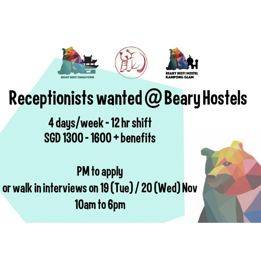 Full time / part time receptionist wanted