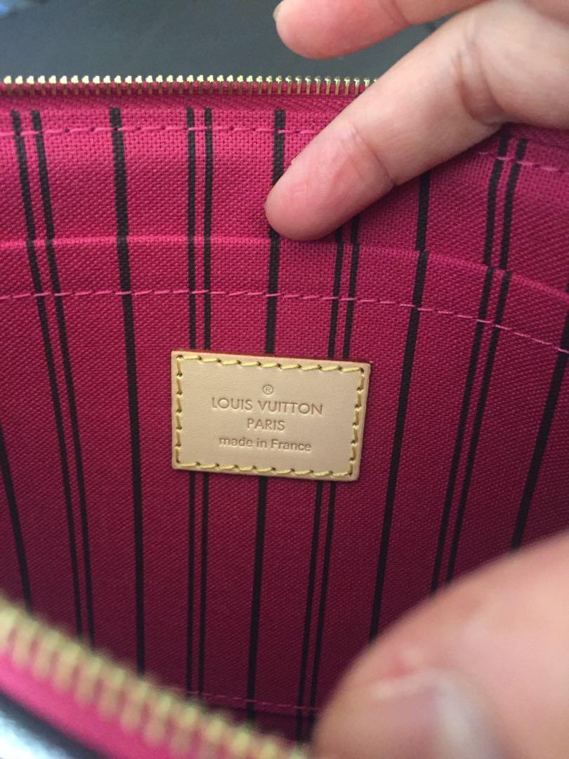 Genuine Louis Vuitton Pouch in Classic Monogram Print & Pivoine Interior