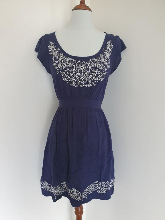 Guc Size 10 Just Jeans navy blue short mini dress long top tunic navy blue