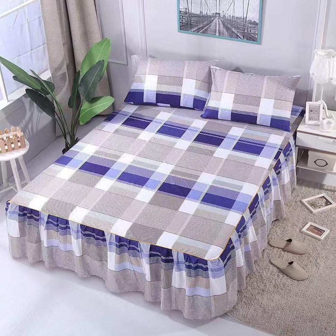 [New] High Quality Checkered Skirting Bedsheet King/Queen Size SKIRTING Bedsheet With 2 Pillowcase