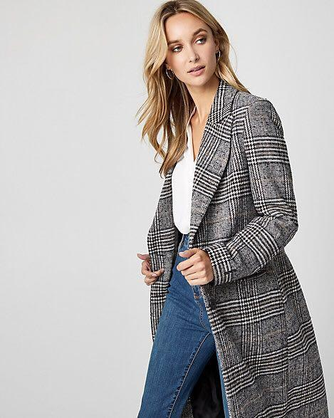 Houndstooth Wool Blend Longline Coat/ Jacket - XXS - Le Chateau