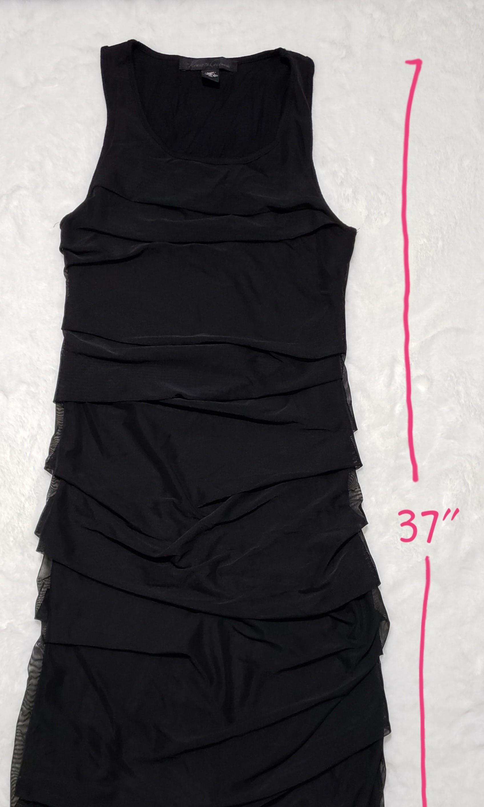 Kenneth Cole NY - black mesh overlay rouche mid dress