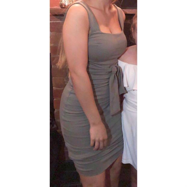 Kookai: ilaria tie midi length dress green / khaki