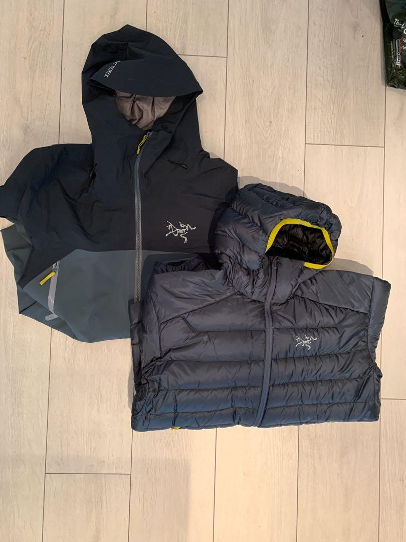 Men's Large combo. Down insulated puffer and rush jacket