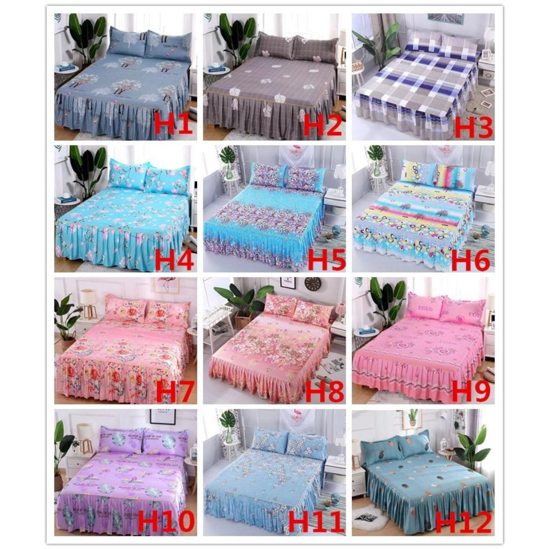 [New] Purple Skirting Bedsheet High Quality SKIRTING Bedsheet With 2 Pillowcase