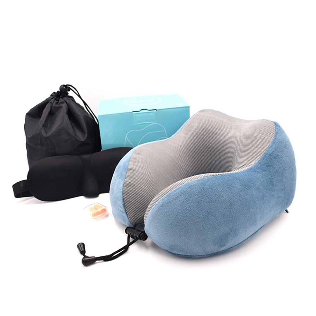 [New] Travel Pillow U-Shape Magnetic Headrest Neck Pillow Memory Foam Pillow With Eyemask