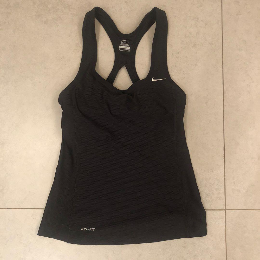 Nike dri-fit women black bra tank top 黑色運動衫