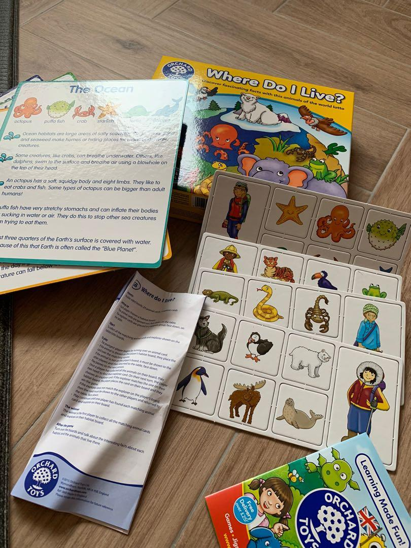 Orchard Toys Where Do I Live Toys Games Board Games Cards On Carousell Where do i live is a fun animals of the world lotto, where players develop their knowledge and understanding of the world as they match different animals to their habitats. carousell