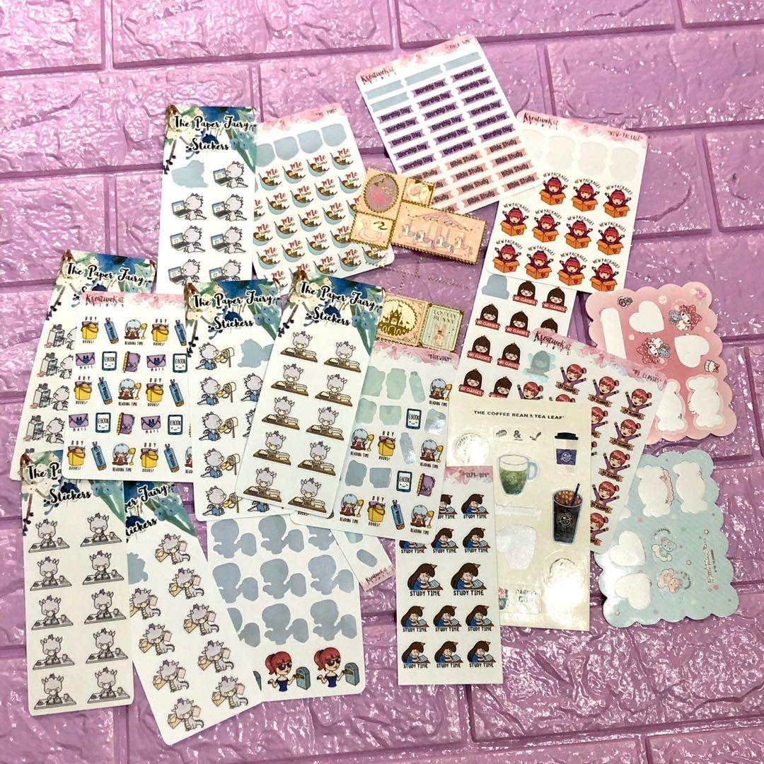 SET BUNDLE of planner stickers bought from various sticker shops matte paper finish some are used