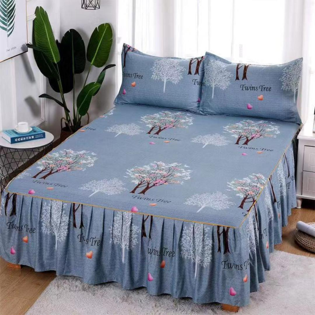 SKIRTING Bedsheet Single/Double/King/Queen Size SKIRTING Bedsheet With 2 Pillowcase