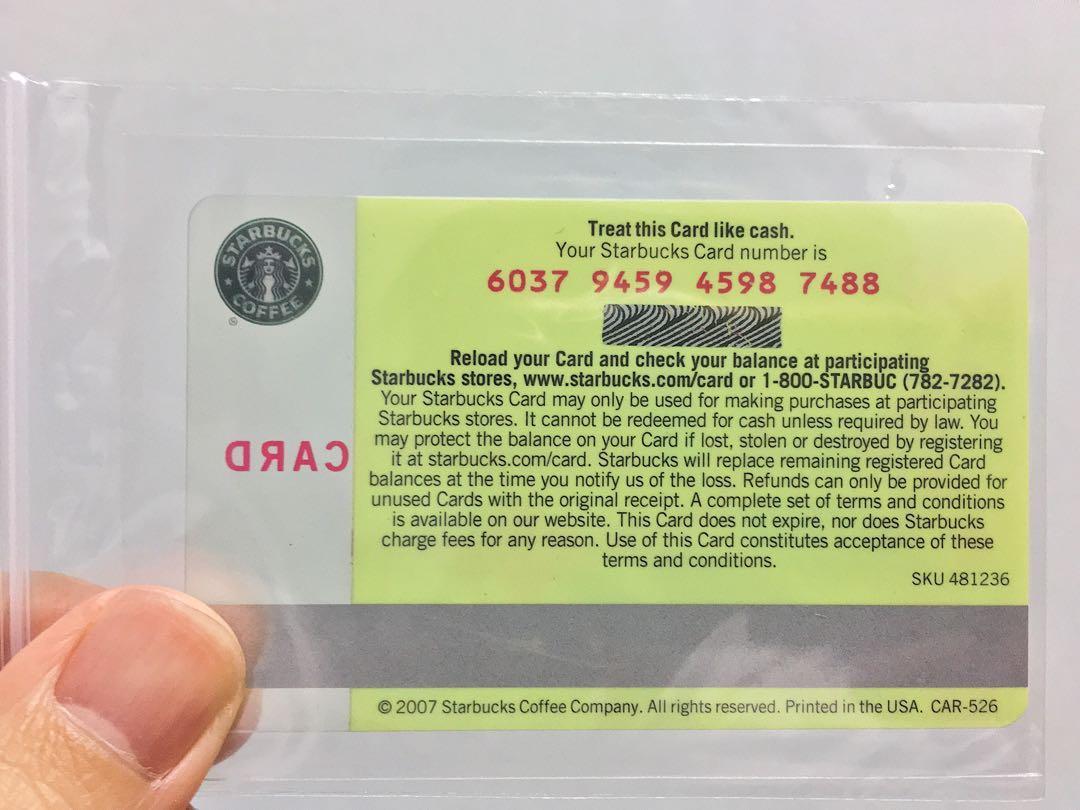 Starbucks 'Coffee Beans' Old Logo Gift Card (2007)