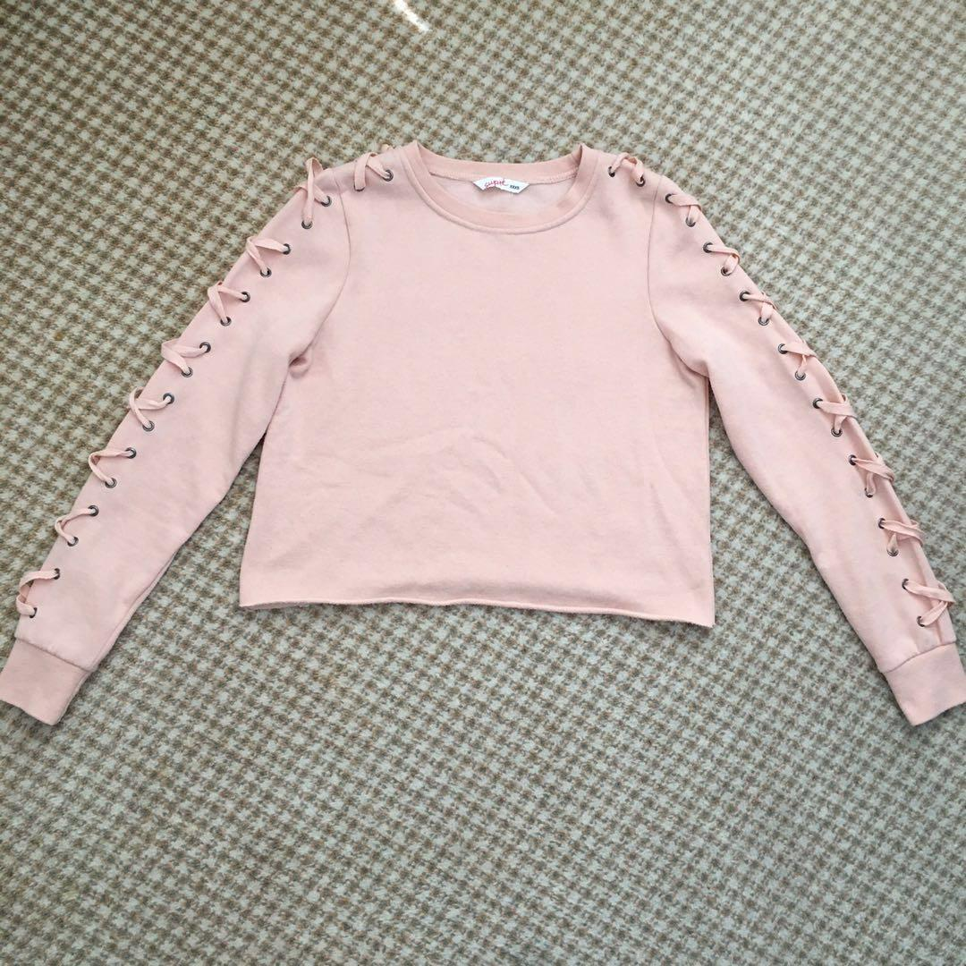 Supre size 8 baby pink lace up long sleeve sweater