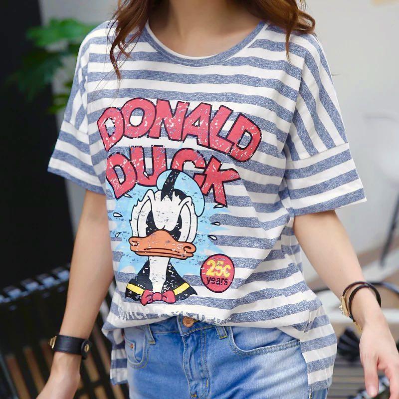 綠白間條唐老鴨寬鬆T shirt