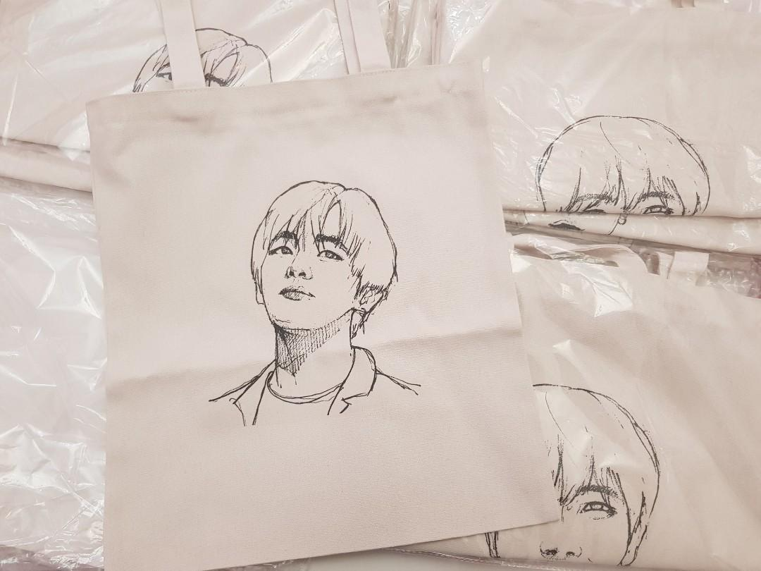 Taehyung  Bag READY STOCK ✔ BTS SKETCH HAND-PAINTED PORTRAIT CANVAS SHOULDER BAG RM25 (EACH)
