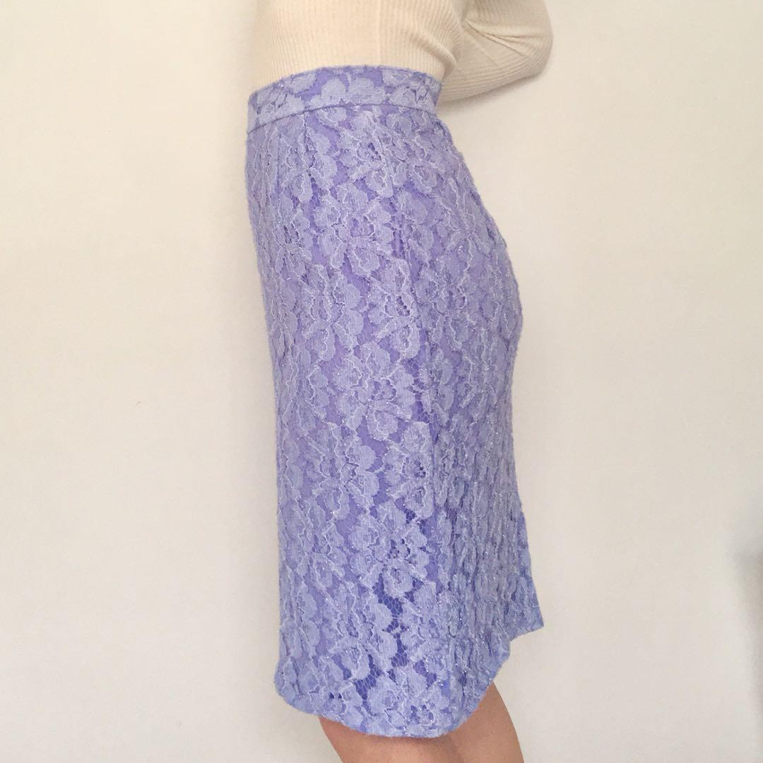 Vintage 90's purple lace high waist pencil skirt with sparkle stitch